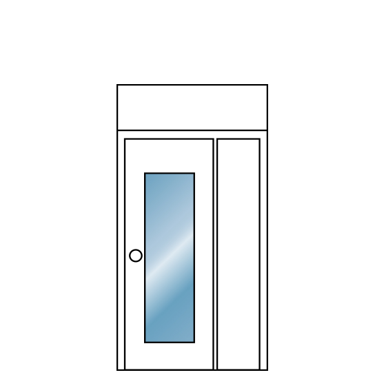 Single Glass Door With Transom And Side Panel