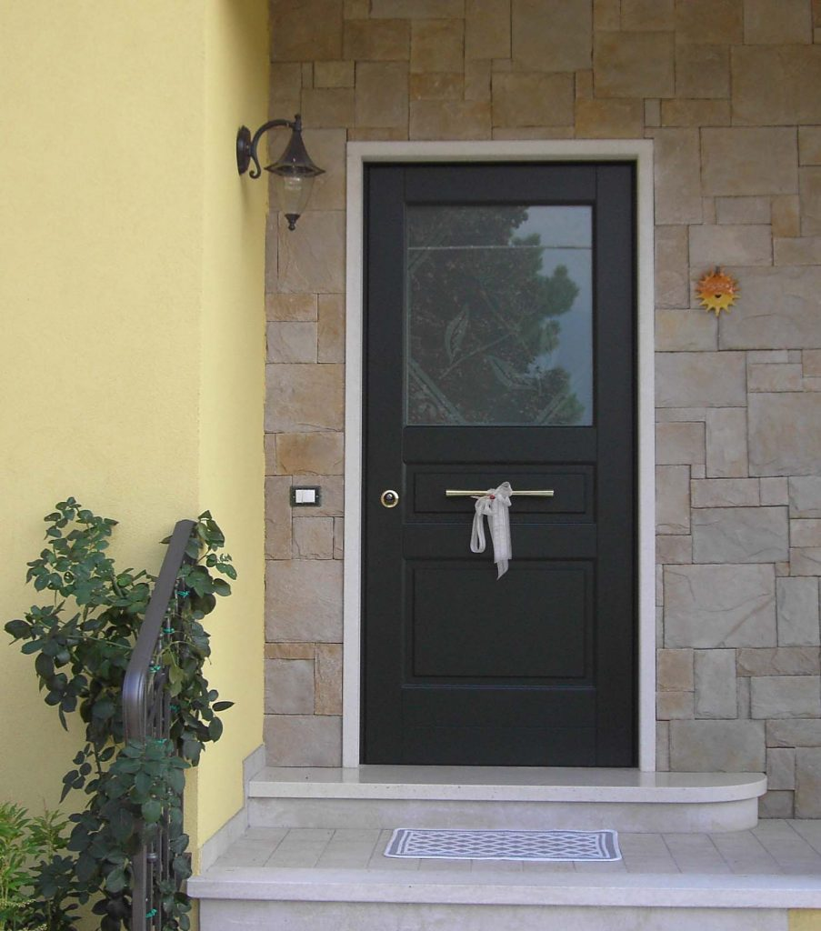 A photo of a fortified and secure front door.