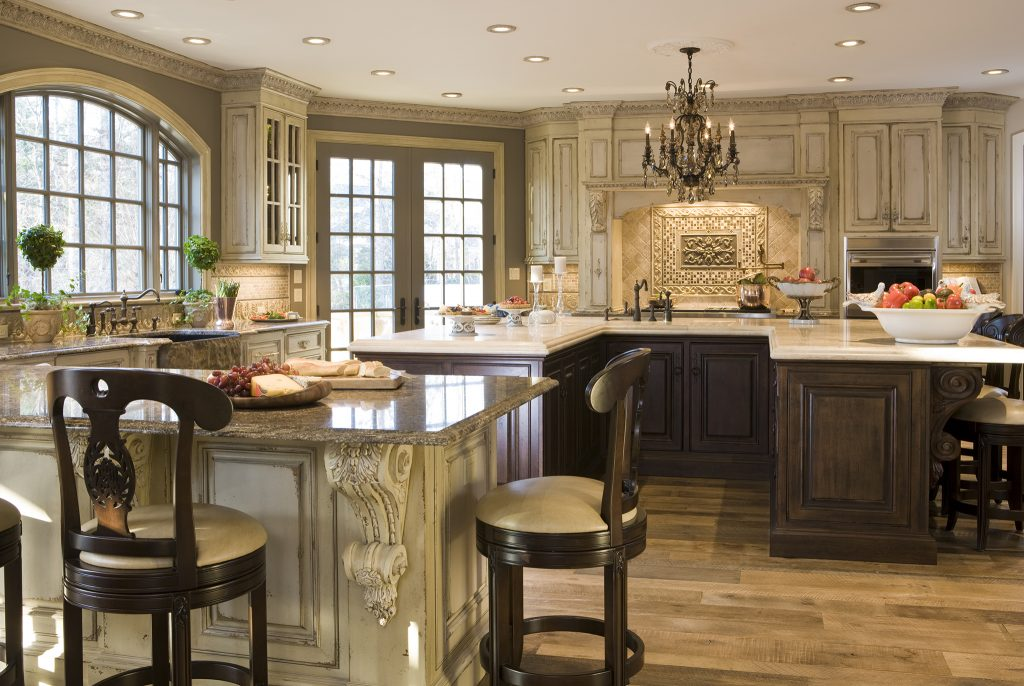 A photo of an elegant kitchen in a luxury home.