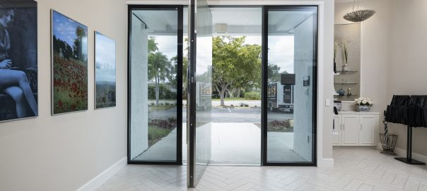 A photo of the steel security pivot door at FBS headquarters in Boca Raton, Florida.