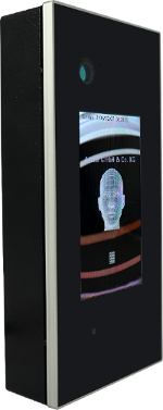 A photo of facial recognition software at work, mapping out someone's head on a screen.
