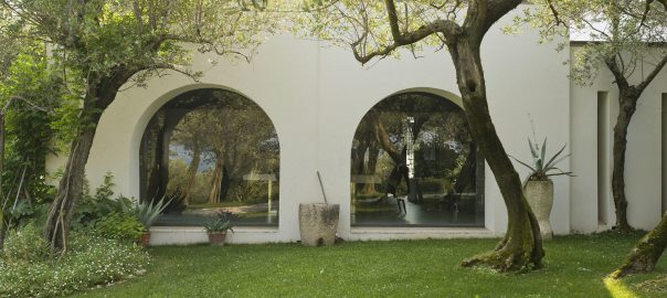 A photo of two arched fixed hurricane windows overlooking a sunny back