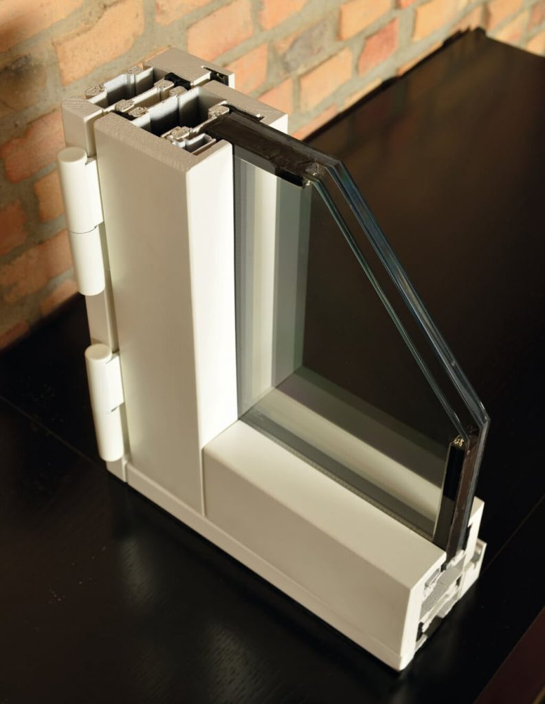 A close-up photo of an FBS high security window sample in white.
