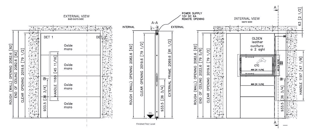 An example of a shop drawing for a pivot door to be installed in a luxury home.