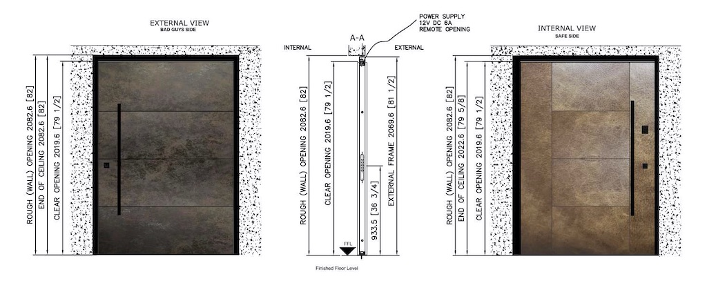 An example of a shop drawing with finishing details for a pivot door to be installed in a luxury home.