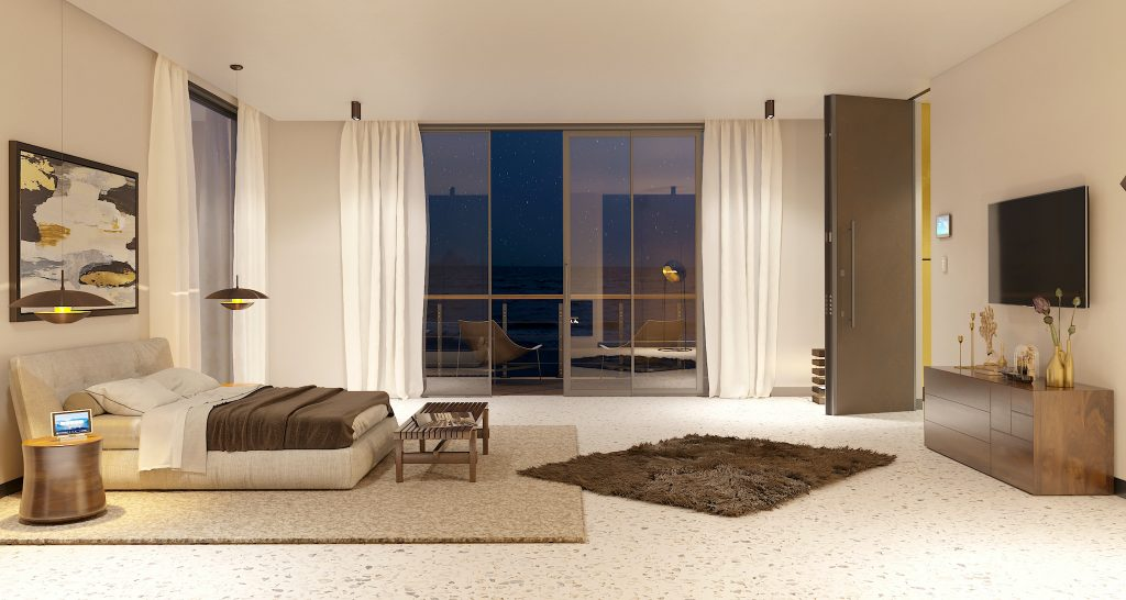 A photo of a spacious master bedroom in a luxury home with a balcony and a custom security door.