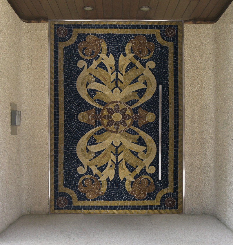 A photo of an oversized pivot door decorated in a mosaic-style.